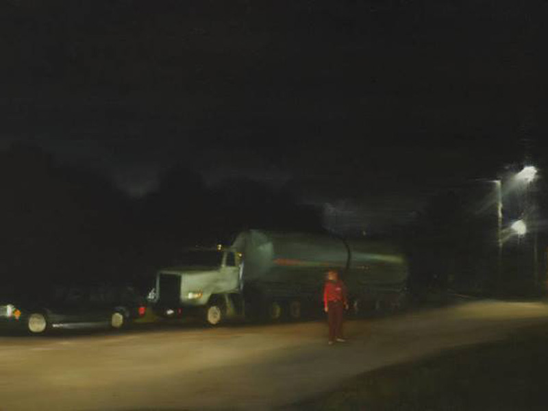 Painting of a man next to a big rig truck