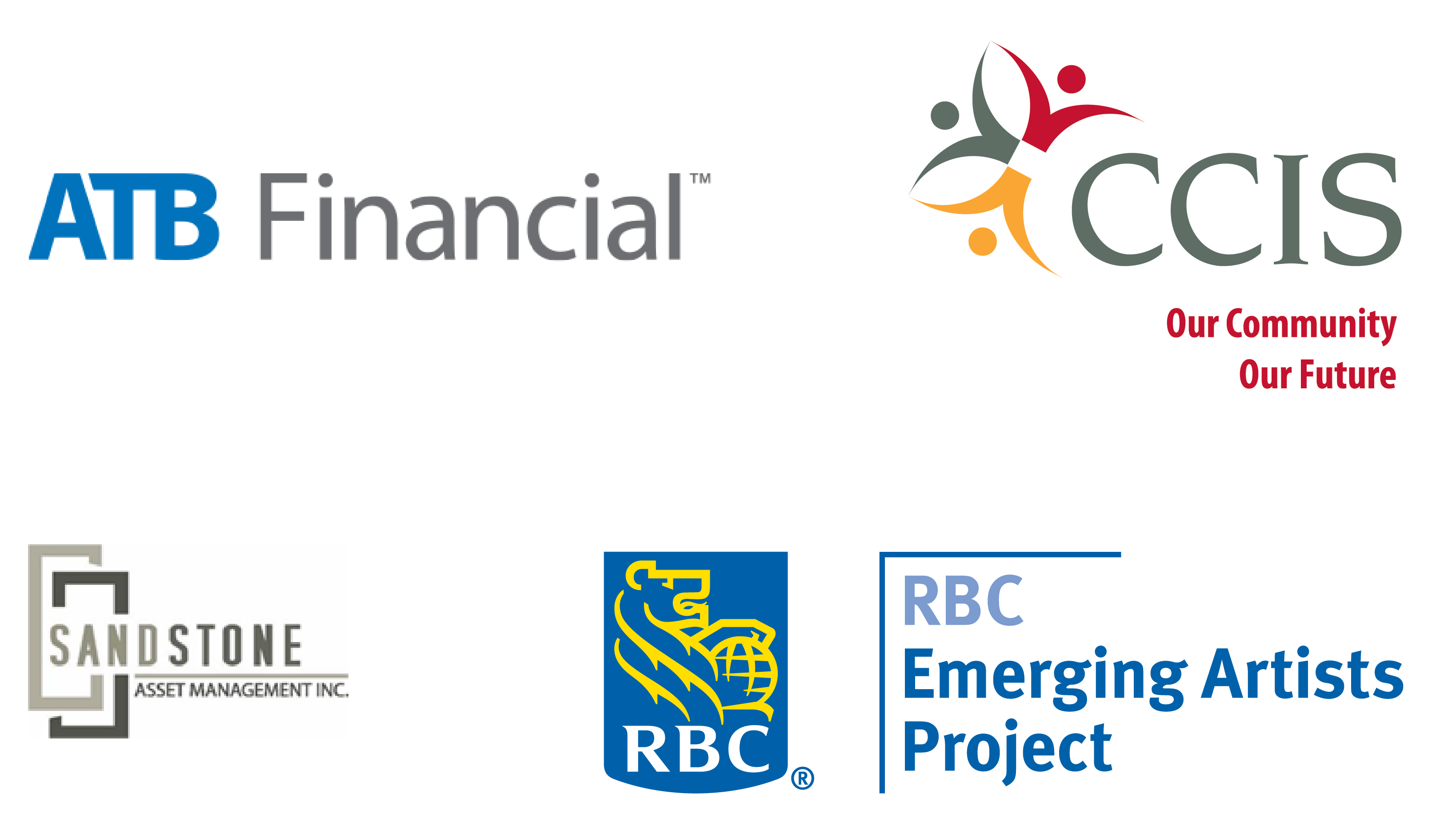 Logos - ATB Financial, CCIS, Sandstone and RBC Emerging Artist Project