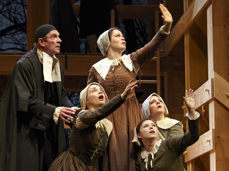 Stephen Hair, Claire Armstrong, Caitlynne Medrek, Brianna Johnston, and Jesse Lynn Anderson in Theatre Calgary's The Crucible | Photo: Trudie Lee
