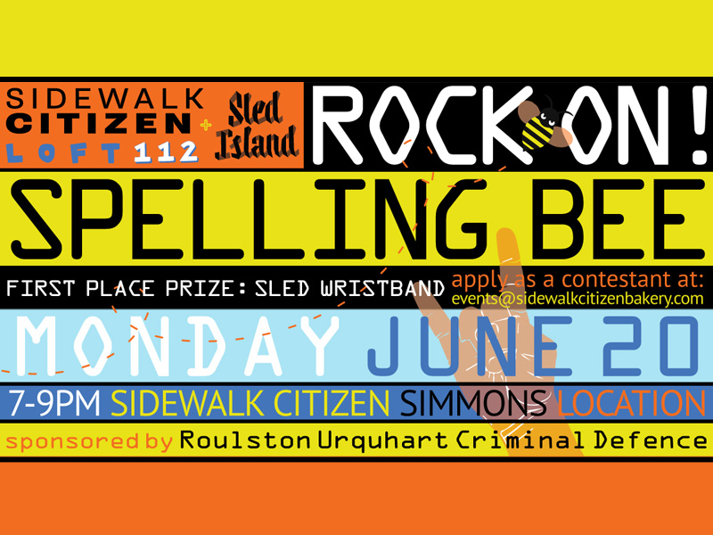 Rock on Spelling Bee poster in bright colours