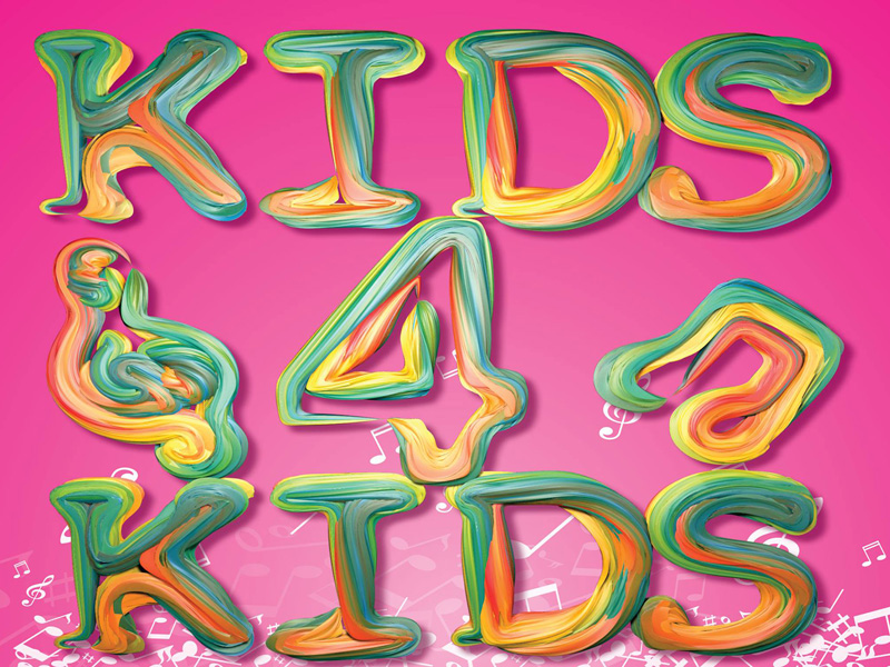 Kids 4 Kids spelled out in putty on a pink background