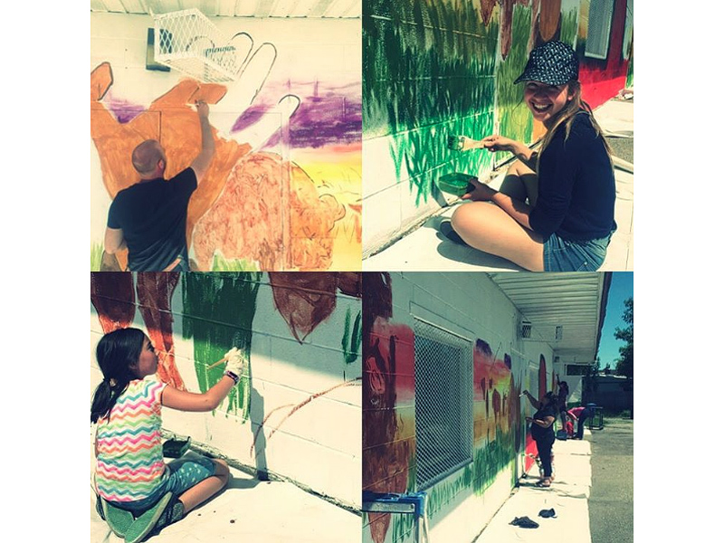 A collage of people painting a mural