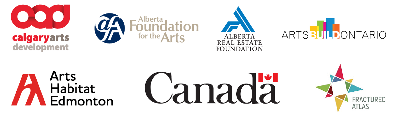 Image logos - Calgary Arts Development, Alberta Foundation for the Arts, Alberta Real Estate Foundation, Arts Build Ontario, Arts Habitat Edmonton, Government of Canada, Fractured Atlas
