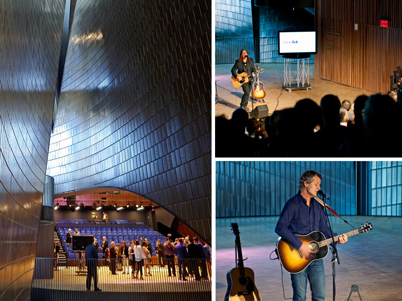 A look into the 300-seat performance hall (left) where Alan Doyle (top right) and Jim Cuddy (bottom right) helped celebrate the first official sound in Studio Bell, home of the National Music Centre | Photos: Amy Jo Espetveidt, Calgary Arts Development