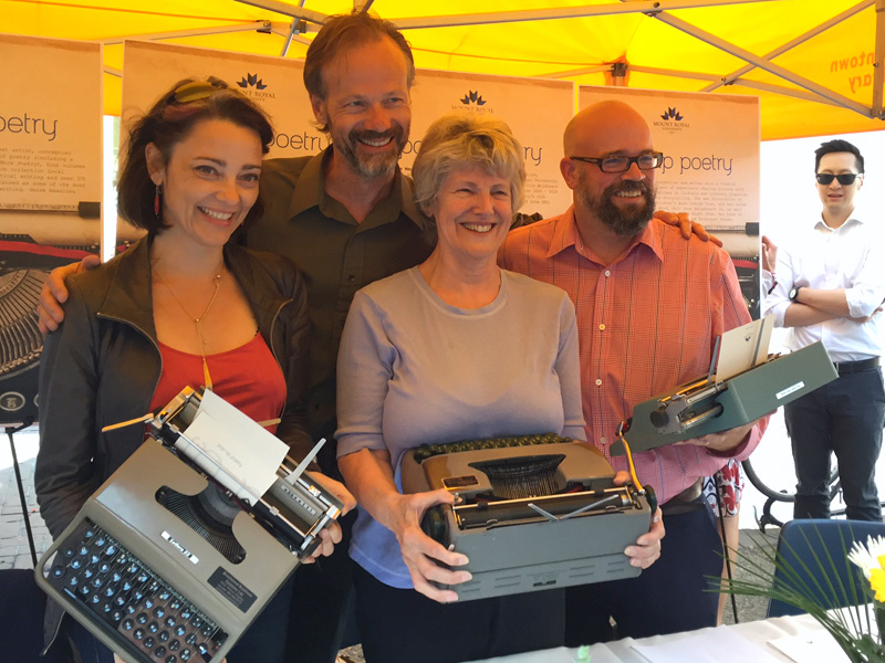 (Left to right) Poets Micheline Maylor, Richard Harrison, derek beaulieu, and Cassy Welburn created on-the-spot creations for Pop-Up Poetry   Photo: Helen Moore-Parkhouse