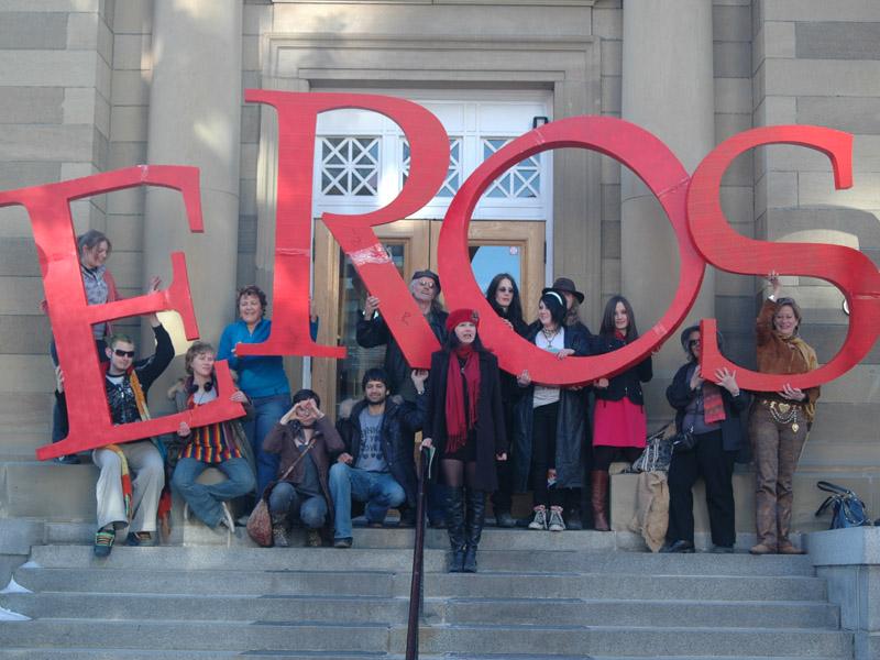 Award-winning spoken word poet Sheri-D Wilson performs on the steps of Calgary's Memorial Park Library | Photo: Courtesy of Sheri-D Wilson