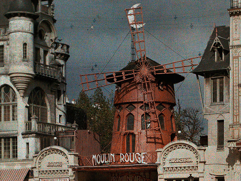 A painted vintage postcard of Moulin Rouge