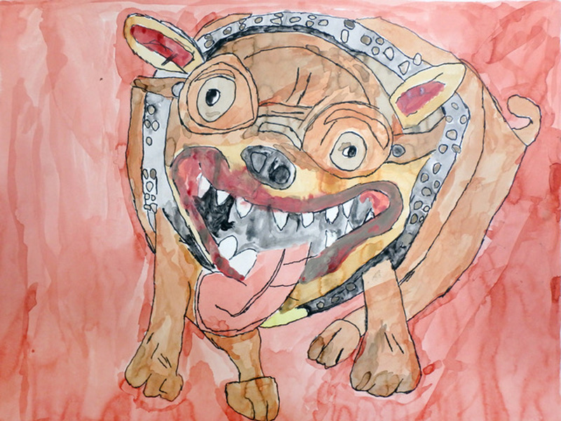 A bright and colourful painting of a bulldog.