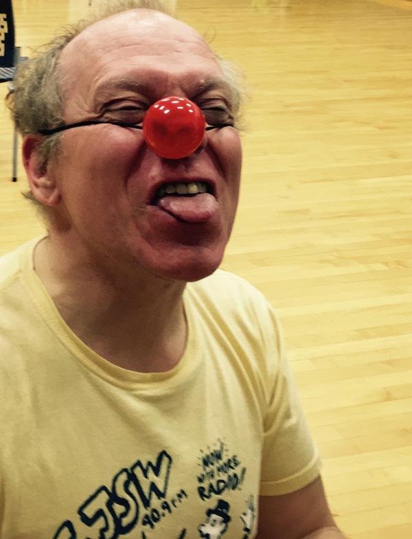 Poulsen clowns around at MoMo's last rehearsal of 2016   Photo: Courtesy of MoMo Dance Theatre