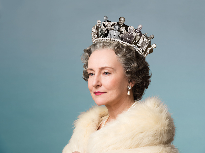 Photo illustration of Queen Elizabeth wearing a crown of Prime Ministers