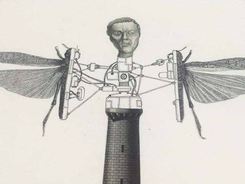 A man with dragonfly wings coming out of a smokestack