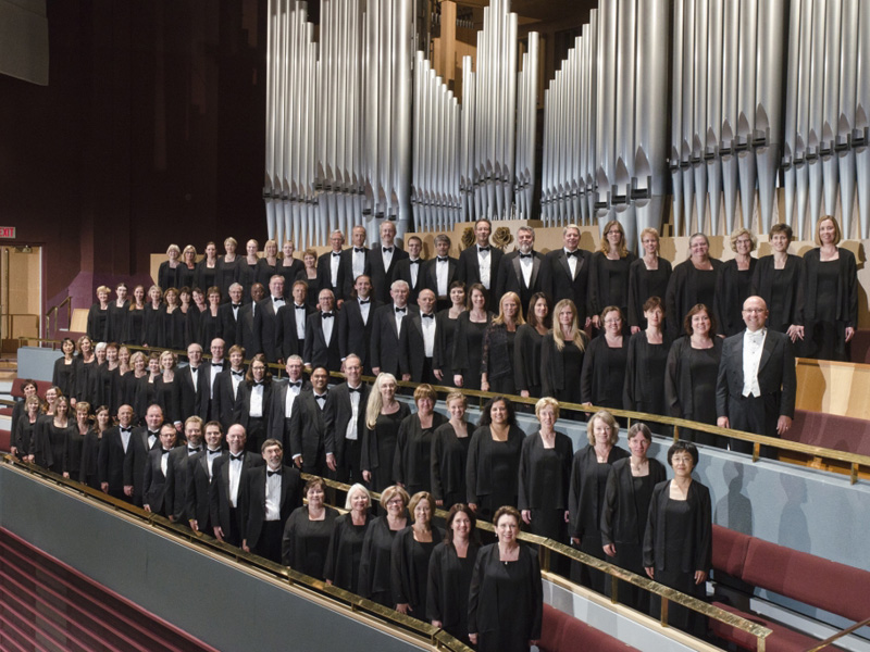 Calgary Philharmonic Chorus in front of the Jack Singer's pipe organ