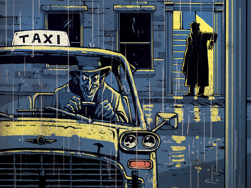 An image of a man in a taxi with a shadowy figure lurking nearby