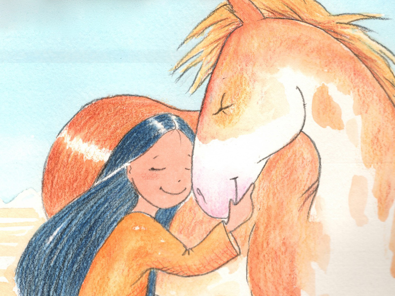 An illustration from Paul Goble's The Girl Who Loved Wild Horses