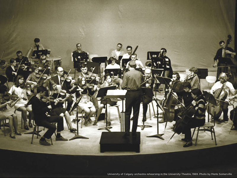 A black and white image of an orchestra
