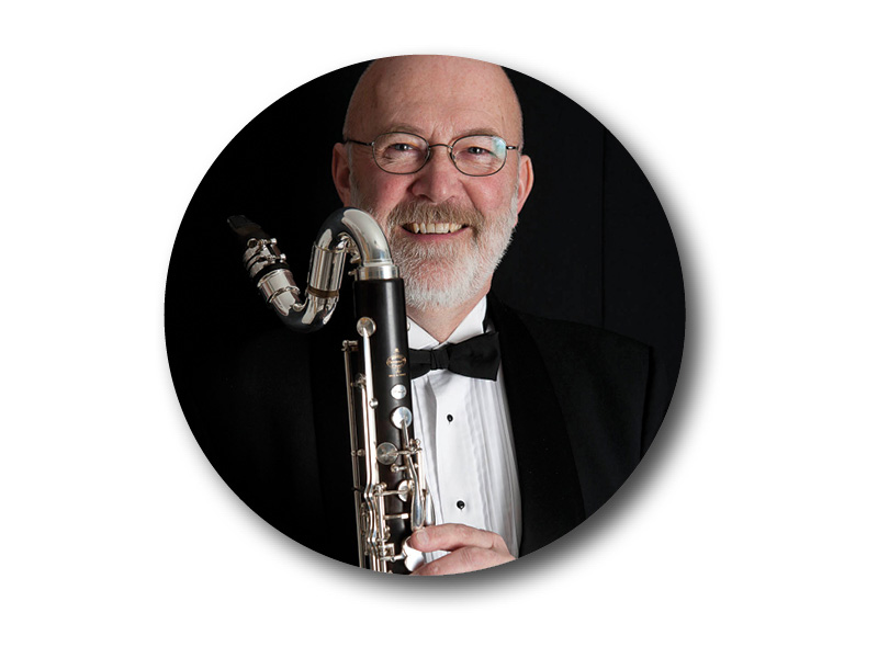 A photo of Stan Clime and his bass clarinet