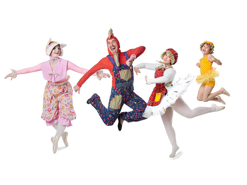 A photo of dancers as barnyard animals