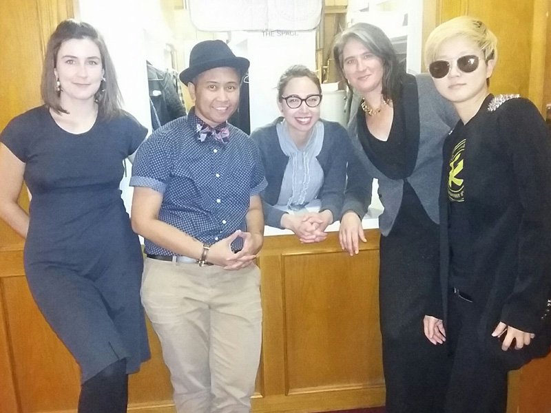 Maggie Flynn, Tet Millare, Tamara Himmelspach, Heather Hermant, and Alvis Parsley perform for Queer Slow Dance with Radical Thoughts