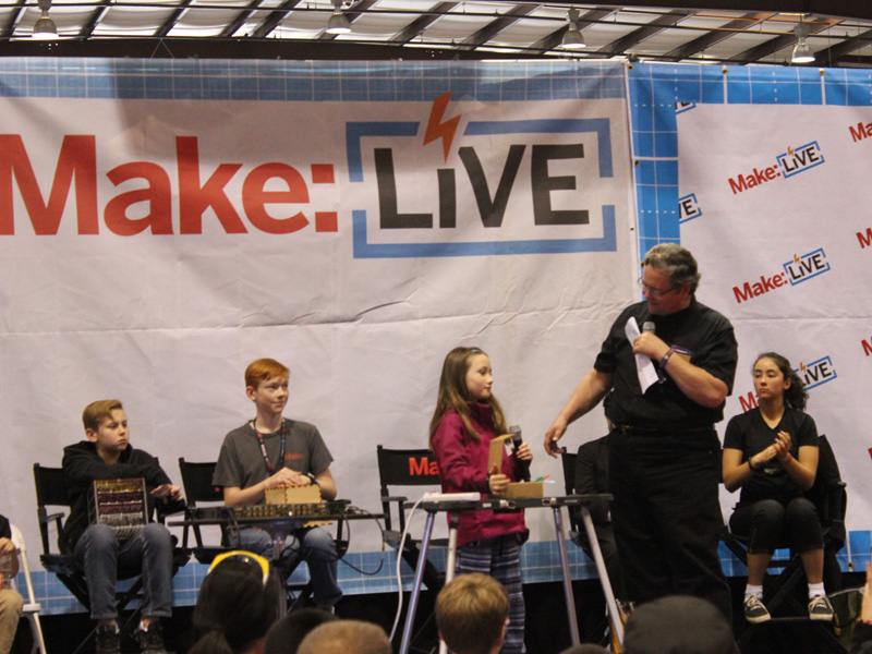 Lauren with Dale Dougherty, founder and Chief Executive Officer of Maker Media Inc., at a Maker Kids panel