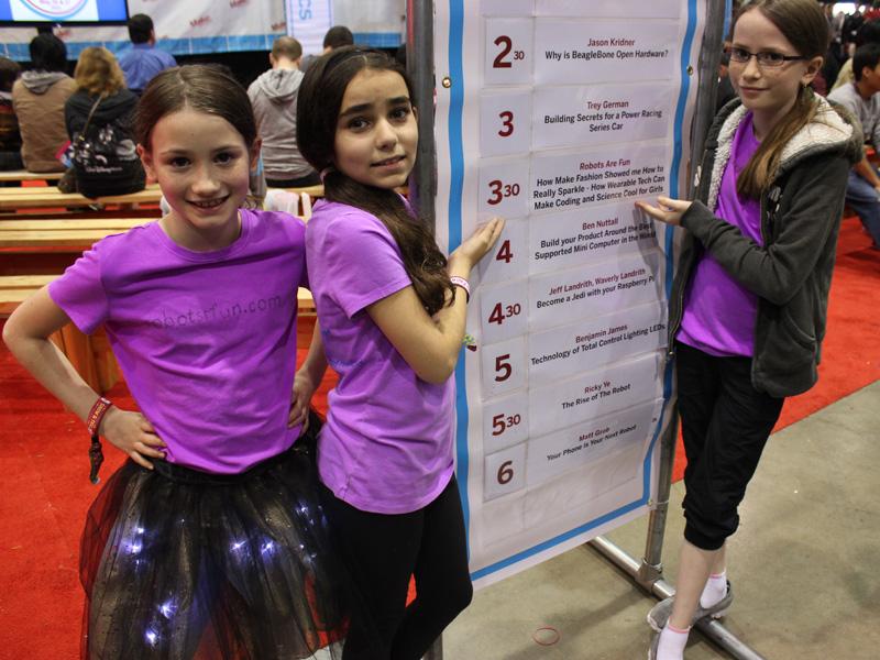 Lauren Voisin, Kendra Walker, and Ashley Voisin at the San Mateo Maker Faire
