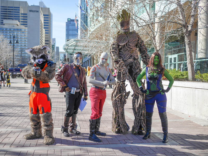 Cosplayers represent Guardians of the Galaxy at POW! Parade of Wonders