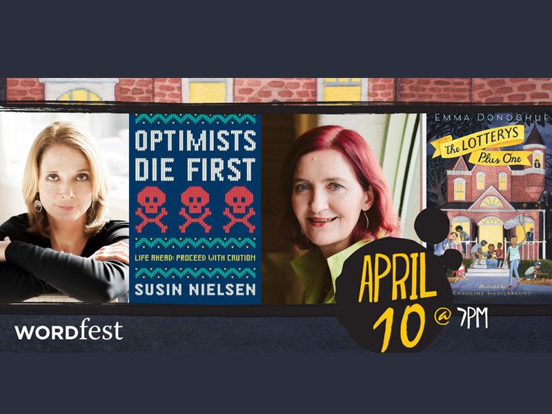 Poster for Wordfest presents Emma Donoghue & Susin Nielsen