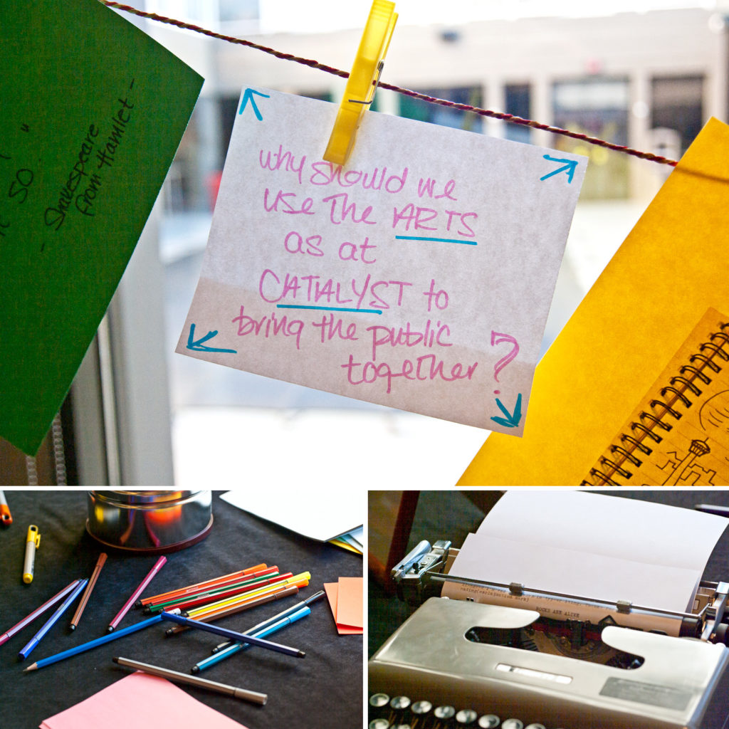 Participants at the Creative Calgary Congress add their messages to the clothesline