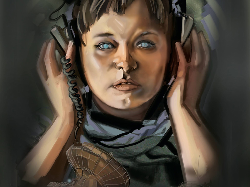 A painting of a person with bright blue eyes holding large earphones over their ears