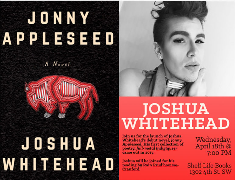 Book cover of Jonny Appleseed next to a photo of Joshua Whitehead