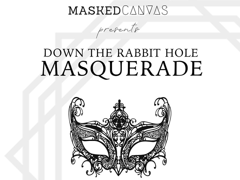 Poster for Masked Canvas' Down the Rabbit Hole Masquerade