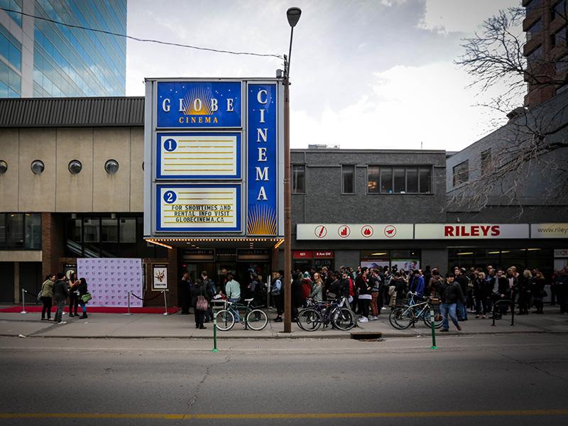Fans wait outside the Globe Cinema for the Calgary Underground Film Festival