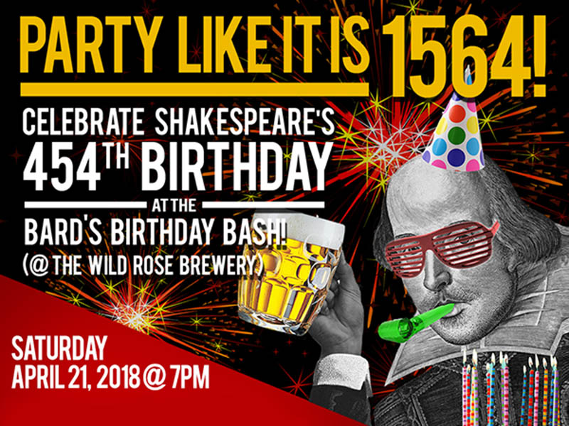 The Shakespeare Company's Bard's Birthday Bash Poster
