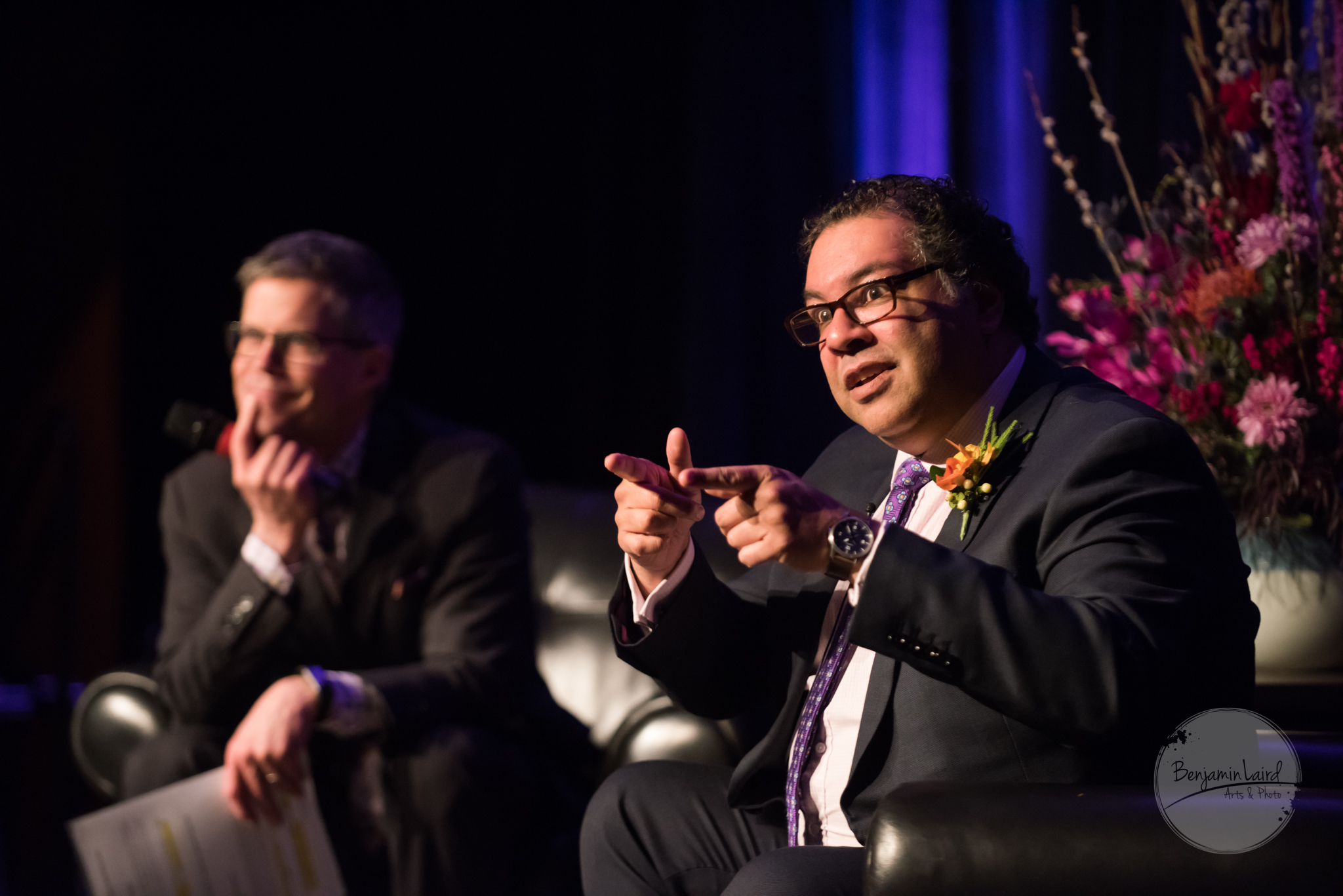 Dave Kelly and Mayor Naheed Nenshi converse at the Mayor's Lunch 2018