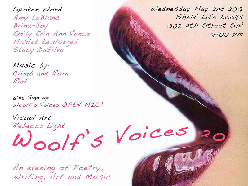 Poster for Woolf's Voices 20 at Shelf Life Books