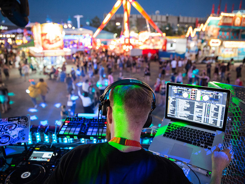 A DJ performs at the Calgary Stampede's IgNITE debut
