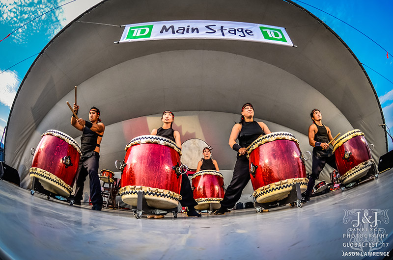 A fisheye photograph of Midnight Taiko performing at GlobalFest
