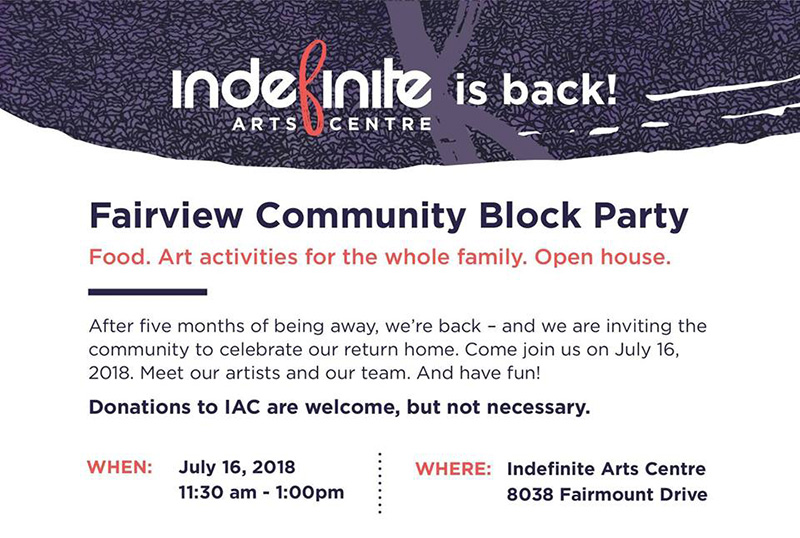 Poster for Indefinite Arts Centre's Welcome Back Party