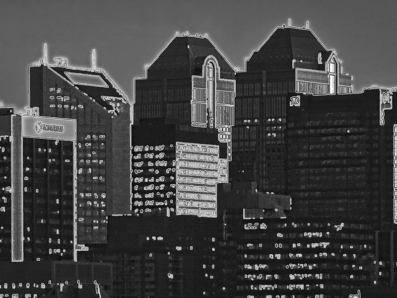 A graphic of the Calgary skyline
