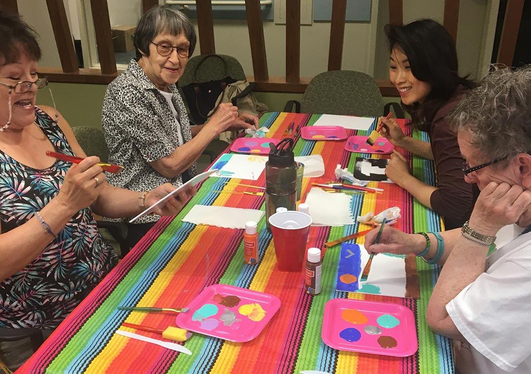 A photo of participants in the Creative Aging Calgary Society's Inaugural Pop Art Session