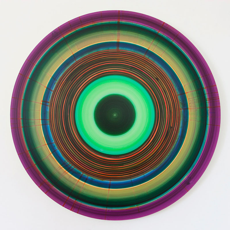 An image of Ulrich Panzer's untitled (14-41-5), a circular painting of rings