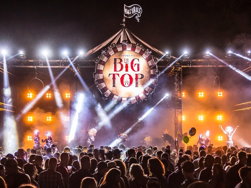 A promo photo of the Big Top stage at the Circle Carnival