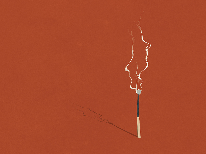 An illustration of two faces forming out of the smoke from a single match