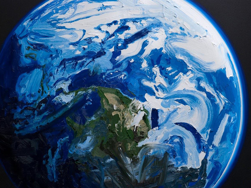 A photo of Erik Olson's painting Earth