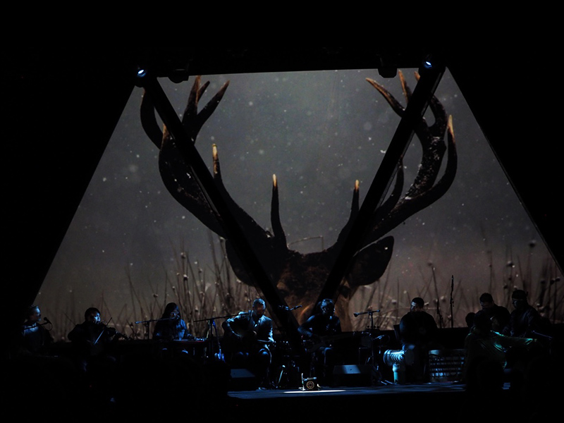 A projection of antlers on stage