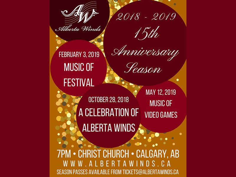 A poster for the Alberta Winds' 15th Anniversary Season