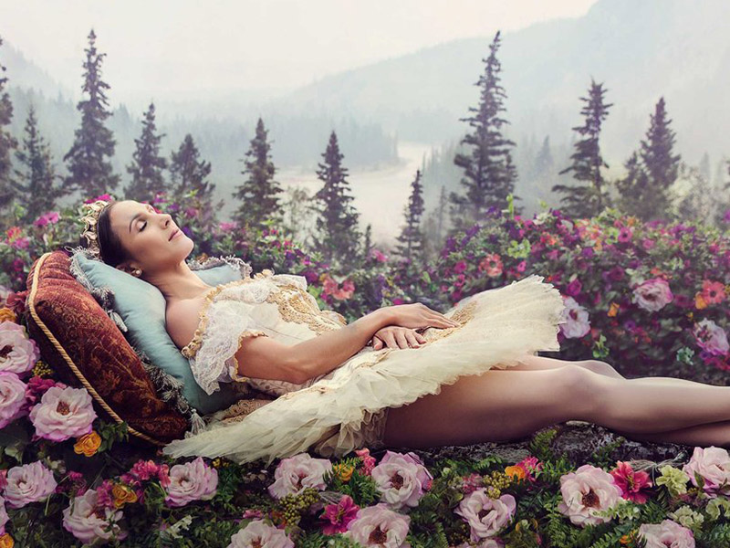A ballerina lays in a filed of flowers in front of a mountain landscape