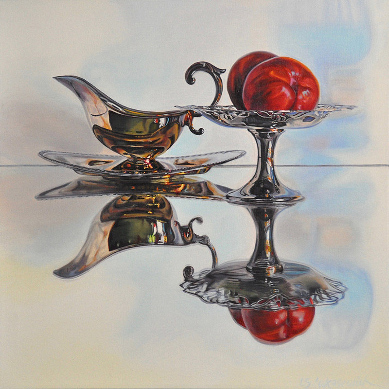 Nctarines, Old Silver, oil painting