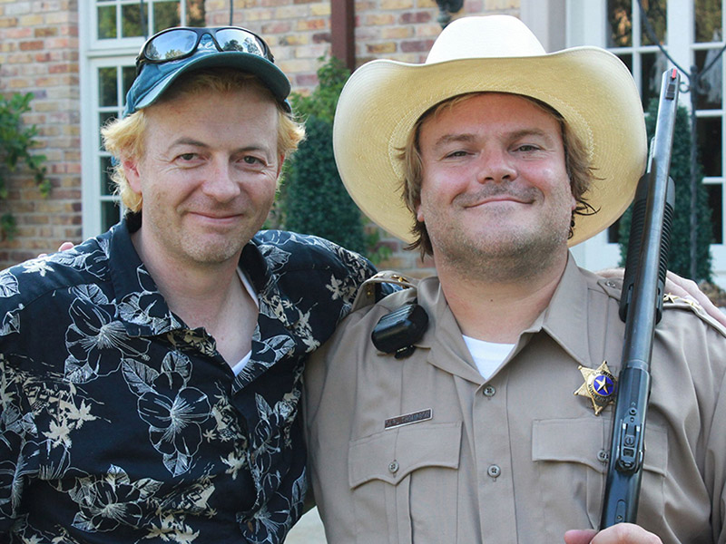 A photo of Stephen Groo and Jack Black on set