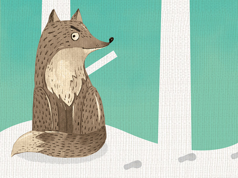 An illustration of a wolf looking at footprints in the snow