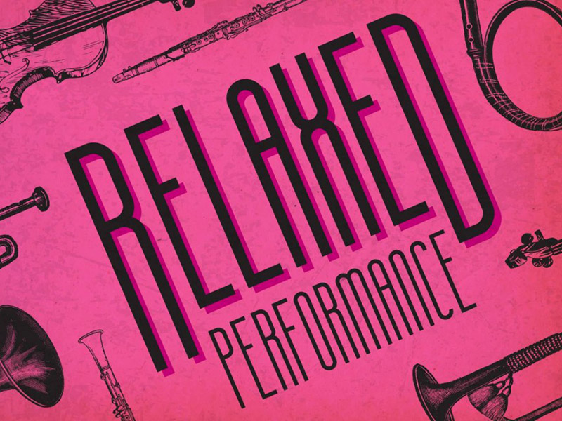 An illustration that says relaxed performance surrounded by classical instruments
